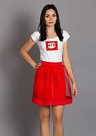 Молодежная красная юбка