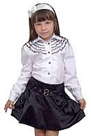 Блузка детская для девочек школьная м 851  рост 128-152 белая