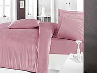 Постельное белье Sateen Strip семейный (ТМ CLASY) розовый, Турция