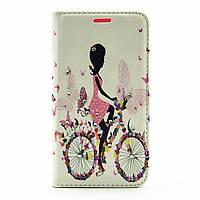 Чехол книжка для LG G5 H845 боковой с отсеком для визиток и стразами, Девушка на велосипеде