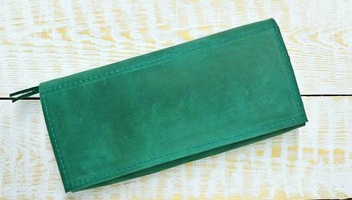 Легкое портмоне из натуральной кожи GBAGS W010 изумрудный