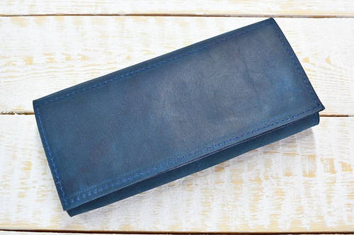 Чудесное портмоне из натуральной кожи GBAGS W010 синий