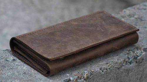 Прекрасное портмоне из натуральной кожи GBAGS W010 коричневый