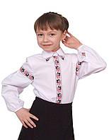 """Блузка детская для девочек школьная """"вышиванка"""" м 860 рост 128-152 белая"""