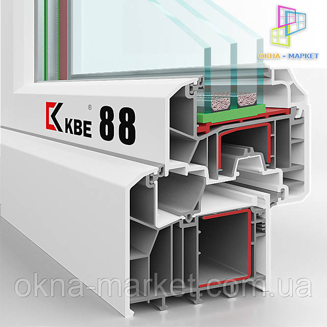 "Пластиковые окна KBE 88 (разрез), фирма ""Окна Маркет"" г.Киев"