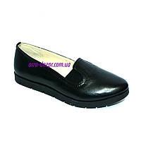 Женские кожаные черные туфли на утолщенной подошве, фото 1