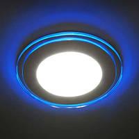 Светодиодный светильник, круг, 16W с голубой подсветкой