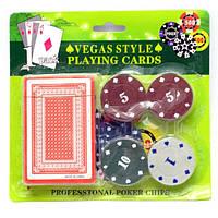 Покерный набор карты+фишки 20 шт.