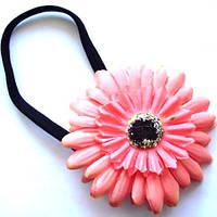 Резинка для волос - цветок розовая