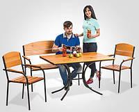 Мебель из сосны для дачи «Фелиция», лавка, 2 кресла, стол 1,2*0,8м, подлокотники, Украина