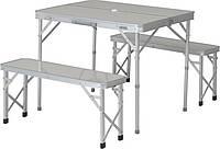 Набор кемпинговой мебели, трансформер, ручки, пластик, белая, 2 лавки, столик