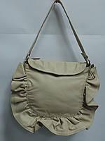 Стильная женская кожаная сумка CONTEMPO Италия 3321 светло бежевая