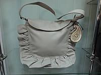 Стильная женская кожаная сумка CONTEMPO Италия 3321 светло серая