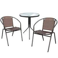 Комплект металлической мебели для сада EMMA, круглый стол со стеклом, 2 кресла