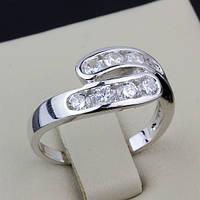 R6-0042 - Милое кольцо с прозрачными фианитами родий, 17, 18, 18.5 р.