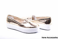 Туфли женские кожаные золотистые Украина Selesta