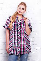 Женская рубашка больших размеров в клетку Ненси розовая 56-62