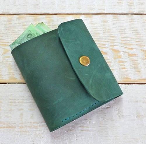 Оригинальное раскладное портмоне из натуральной кожи GBAGS W019 изумрудный