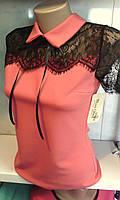 Женская нарядная блузка с гипюром и воротником