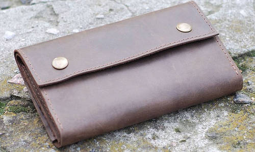 Неповторимый кошелек из натуральной кожи GBAGS W021 коричневый