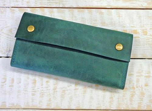 Яркий кошелек из натуральной кожи GBAGS W021 изумрудный