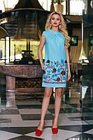Нежное Платье Туника из Льна Бирюзовое  S-XL
