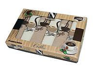 Подарочный набор кухонных полотенец в коробке Nilteks Кофе с печеньем 6 шт 45х70