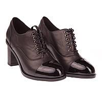 Удобные женские туфли Deenoor (весна-лето-осень, кожаные, на каблуке, на шнуровках, лаковый носок)