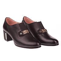 Модные женские туфли Beratroni (кожаные, черные, весна-лето, на удобном каблуке, есть резинка)