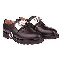 Стильные женские туфли Beratroni (весна-лето, красивая пряжка с камнем, черные, на низком ходу, есть замок)
