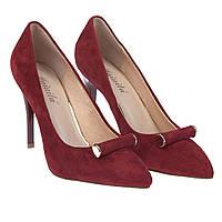Элегантные женские туфли Mainila S8169D-BZ2S05 (удобные, замшевые, весна-лето, на каблуке, красные)