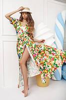 Великолепная пляжная женская туника в пол с цветочным принтом шелк