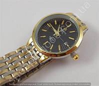 Мужские часы Patek Philippe 8276G (113900) золотистые с черным циферблатом на металлическом браслете календарь