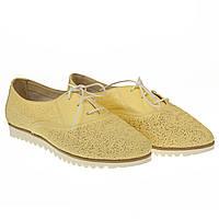 Туфли женские кожаные от Favi (легкие, стильные, удобные, желтого цвета)