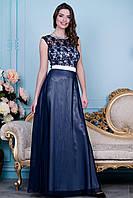 Темно-синее платье с белым поясом
