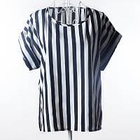 Блуза женская с коротким рукавом / Футболка в вертикальную полоску черно-белая