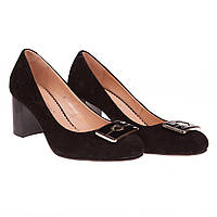 Замшевые туфли женские от Foletti (классические, на удобном каблуке, комфортные, черные)