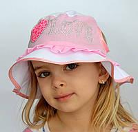 Панама Love для хвостиков. р. 50-54. (3-6 лет). Коралл, персик, мята, розовый, бело-розовый