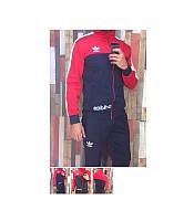 Мужской спортивный костюм Adidas красный  (зауженные штаны)