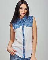 Cтильная женская блуза с джинсовой вставкой