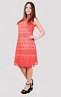 Нарядное кружевное платье кораллового цвета