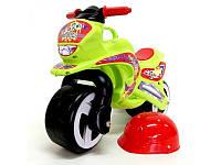 Каталка мотоцикл с каской 11-007, 2х- колесный с ручкой для переноски