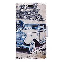 Чехол книжка для LG G5 H845 боковой с отсеком для визиток, Ретро авто