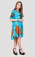 Красивое платье свободного кроя в модной расцветке