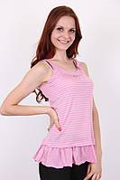 Модная розовая женская майка в полосочку.