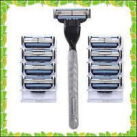 Станок для бритья (бритва) + Касеты картриджи лезвие Gillette Mach 3 4 шт