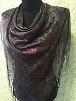 Платок шелковый с бахромой 2274, цв. мокрый асфальт