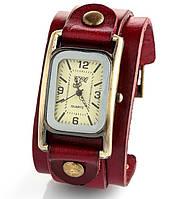 Женские винтажные наручные часы прямоугольной формы (кварцевый механизм), ремешок кожаный, красного цвета