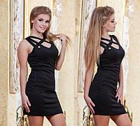 Женское однотонное мини платье