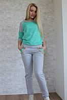Костюм спортивный кофта с гипюром + штаны - Бирюзовый